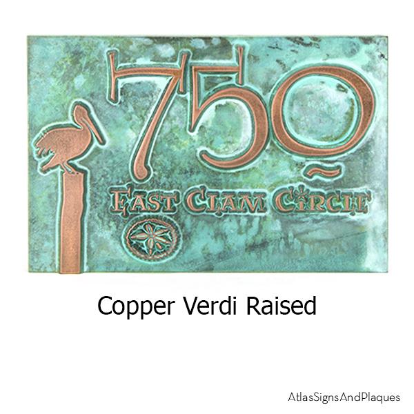 Perched Pelican Address Copper Verdi