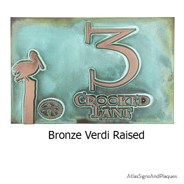Perched Pelican Address Plaque Copper Verdi