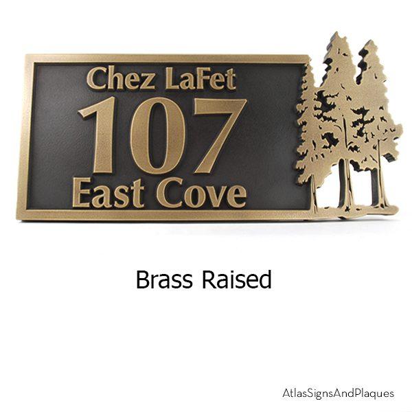 Pine Trees Up North Address Plaque Brass Raised