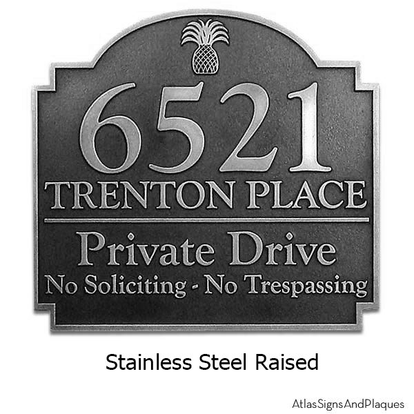 Pineapple Private Drive Sign - Stainless Steel