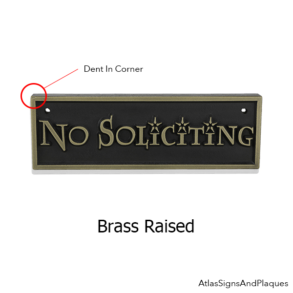 Dented Brass Lumos No Soliciting sign