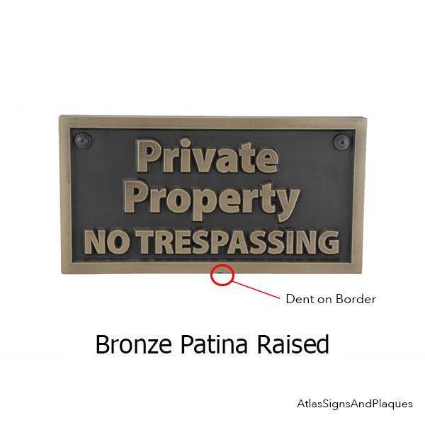 Private Property No Trespassing – Bronze Raised