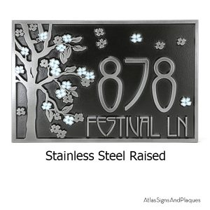 Rectangle Blossom Tree Plaque Raised Stainless Steel Light Blue Paint