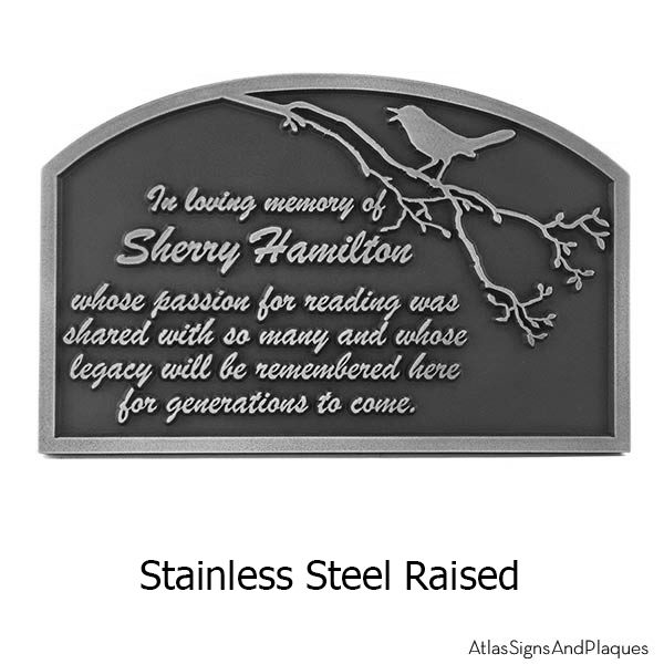 Stainless Steel Songbird Remembrance Plaque