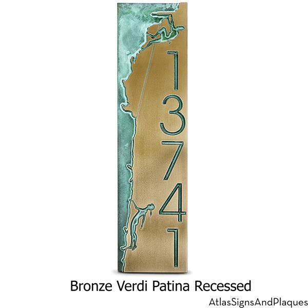 Rock Climbing Address Plaque Recessed Bronze Verdi
