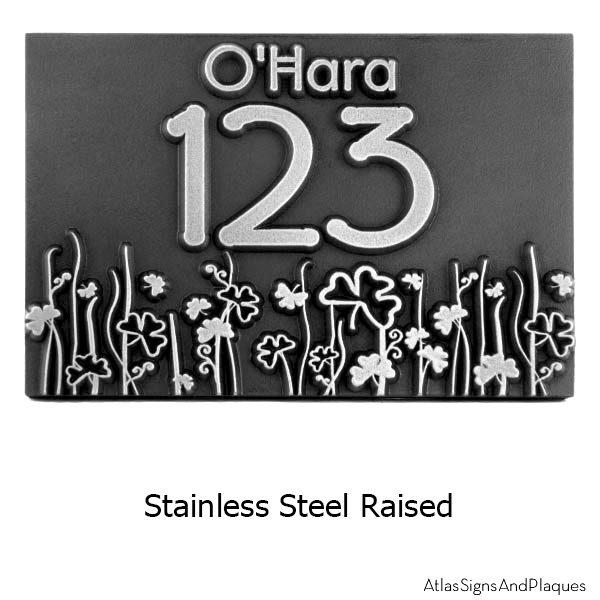 Raised Stainless Steel Shamrock Address