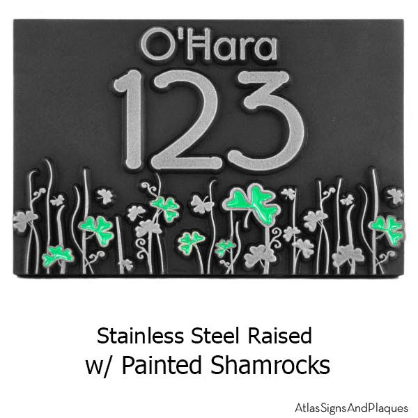 Shamrock Address Plaque - Stainless Steel with Painted Shamrocks