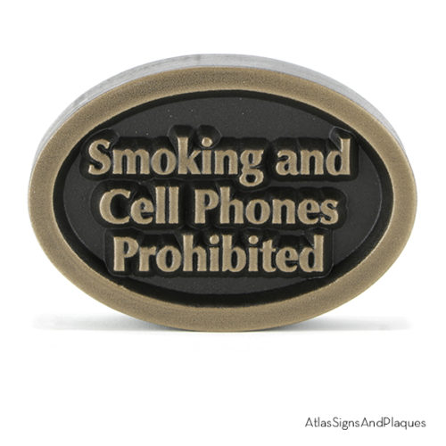 Smoking And Cell Phones Prohibited Bronze Raised