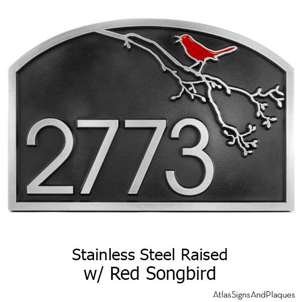 Stainless Steel Song Bird Address Plaque