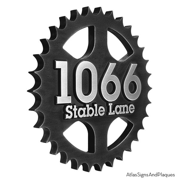 Stainless Steel Sprocket Address Plaque