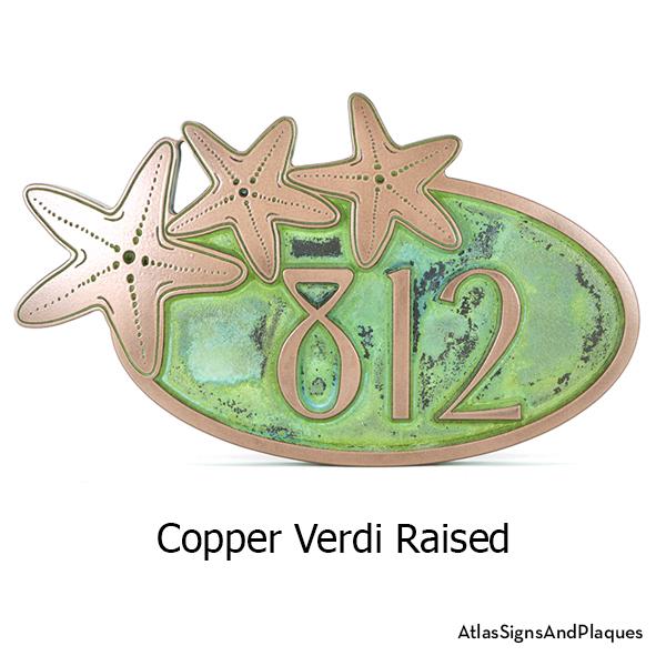 Starfish Address Plaque Copper Verdi Raised
