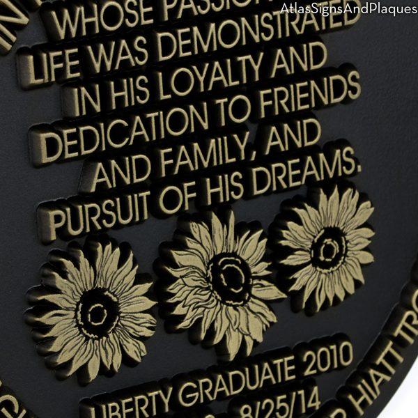 Round Sunflower Memorial Plaque Detail