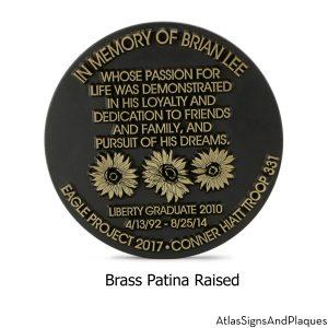 Round Sunflower Memorial Plaque