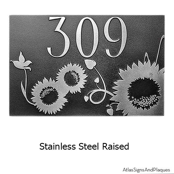 Sunny Sunflower Address Plaque Stainless Steel