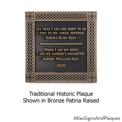 traditional historic plaque