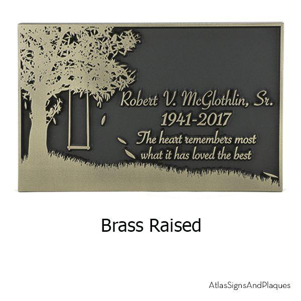 Tree Swing Sign Brass Raised