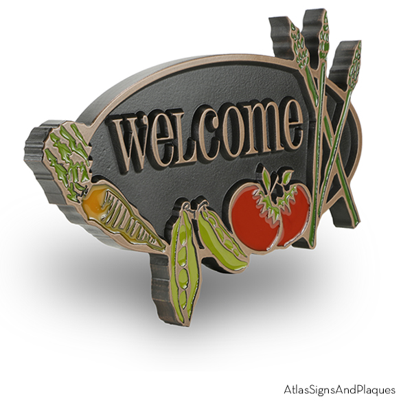 Vegetable Garden Welcome Sign Copper Raised Angled