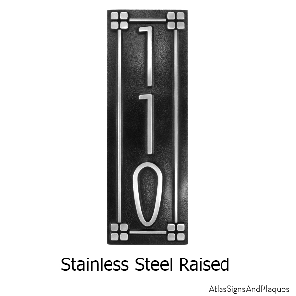 Stainless Steel Vertical American Craftsman Home Numbers