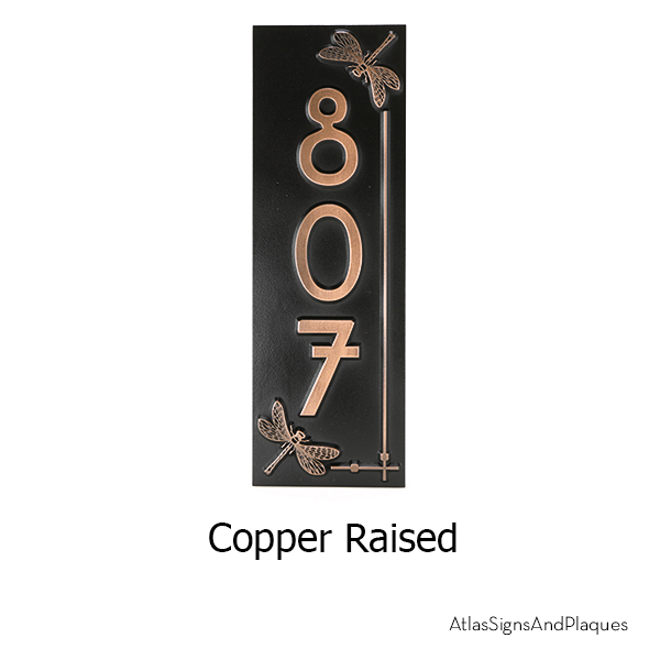 Vertical Dragonfly House Number Sign Copper Raised