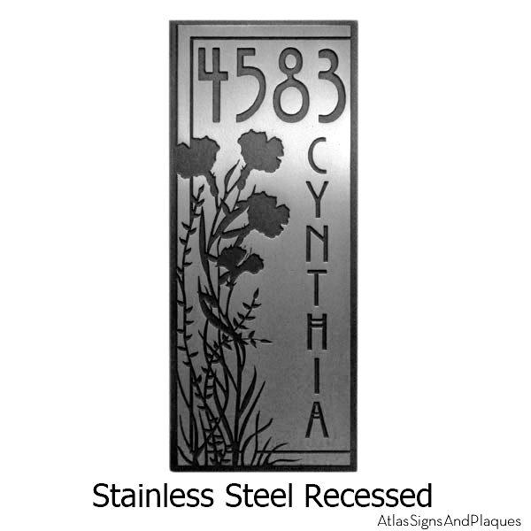 Stainless Steel Vertical Poppy Address Plaque