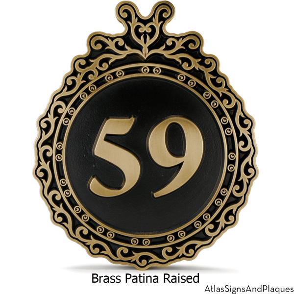 Victorian Ornament Address Sign Brass