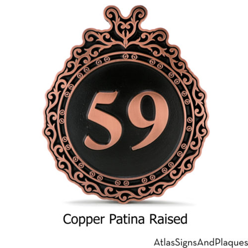 Victorian Ornament Address Sign Copper Raised