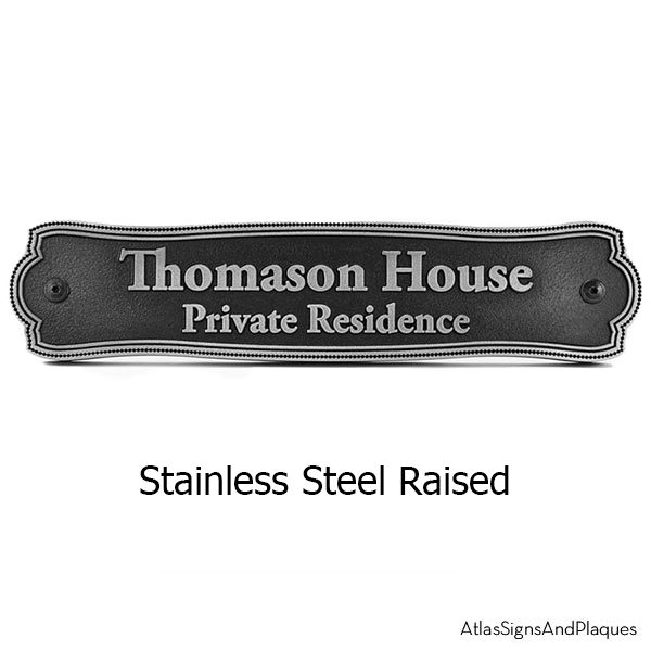 Stainless Steel Victorian Name Plaque