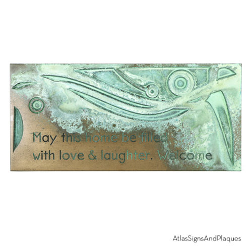 Welcome May This Home Be Filled Bronze Verdi Recessed