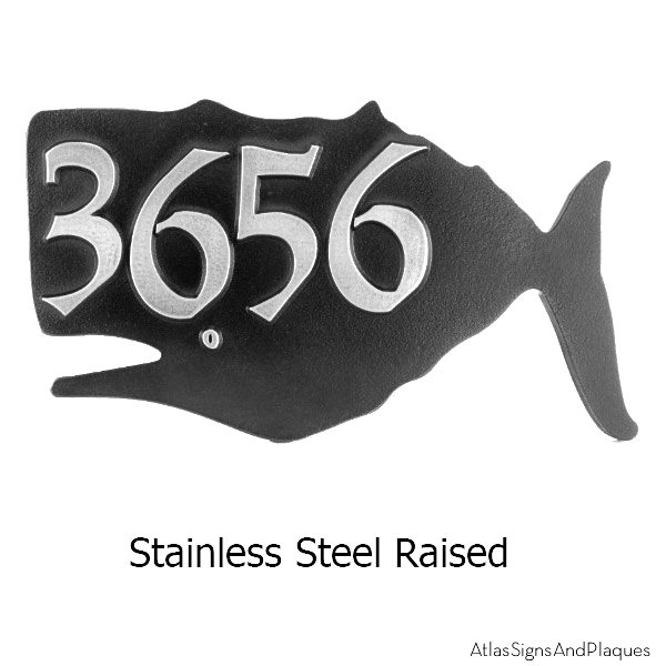 Stainless Steel Whale House Numbers Plaque
