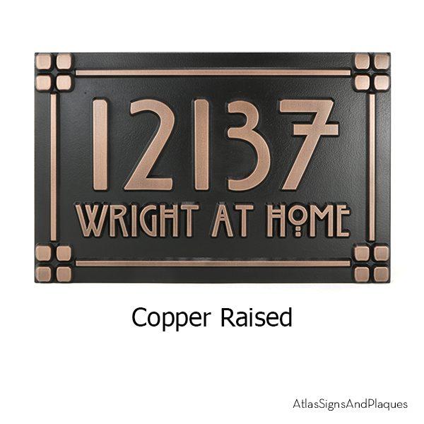 Willow Craftsman Address Plaque Copper Raised
