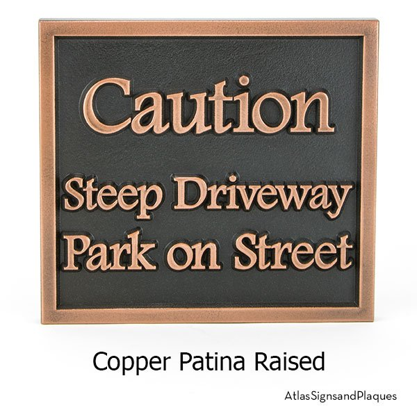 Almost Square Caution Sign, Raised, Copper