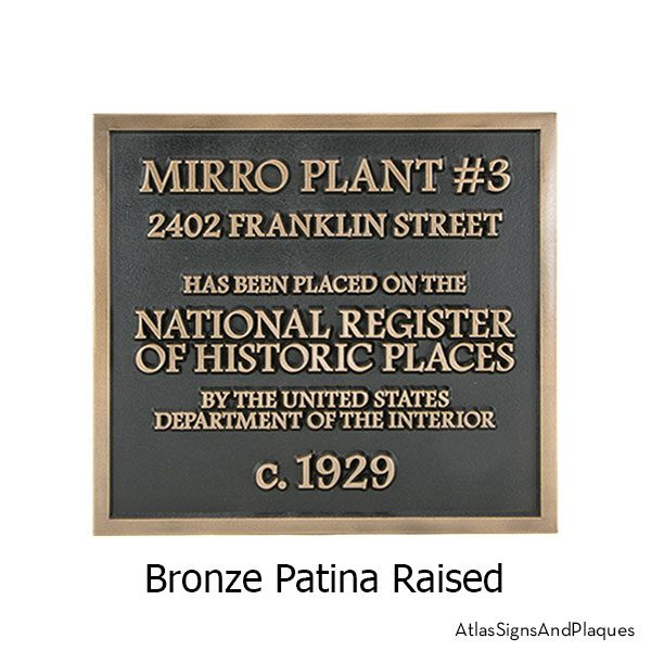 Bronze Patina finish on the Almost Square Historic Plaque