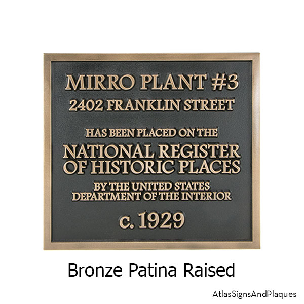 Bronze Patina finish on the Almost Square Historic Plaque