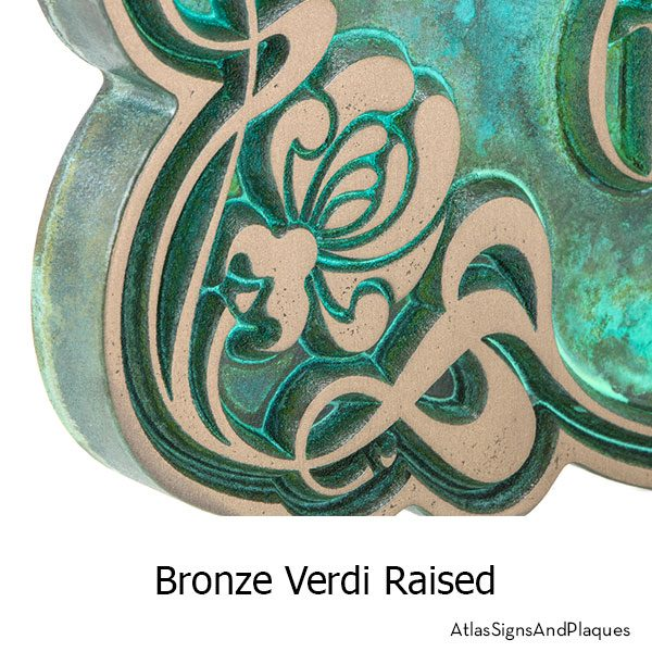 Bronze Verdi finish on the Art Nouveau Rose Plaque