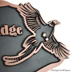 Flying Pheasant Sign - Copper Detail