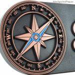 Compass Rose Address Plaque - Copper Detail with Paint
