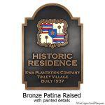 Honolulu Hawaii Historic Resident Plaque - Bronze with Paint