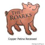 Pig Name Plaque - Copper