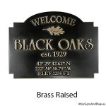 Commercial Welcome Sign Raised Brass Black Oaks