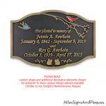 custom songbird remembrance plaque