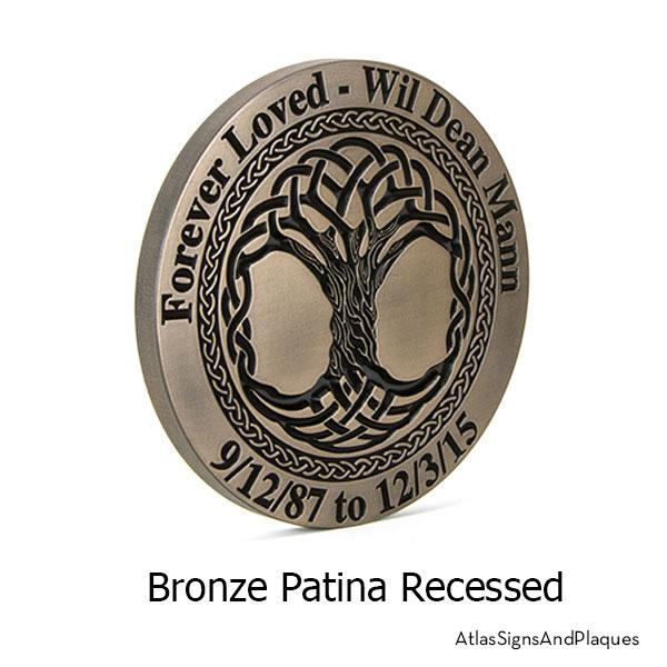 Celtic Tree Memorial Plaque, Recessed, Bronze