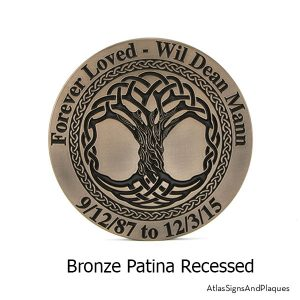 Celtic Tree Memorial Plaque, Recessed, Bronze