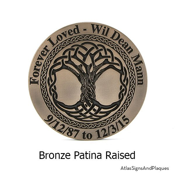Bronze Patina finish on the Celtic Tree Memorial Plaque