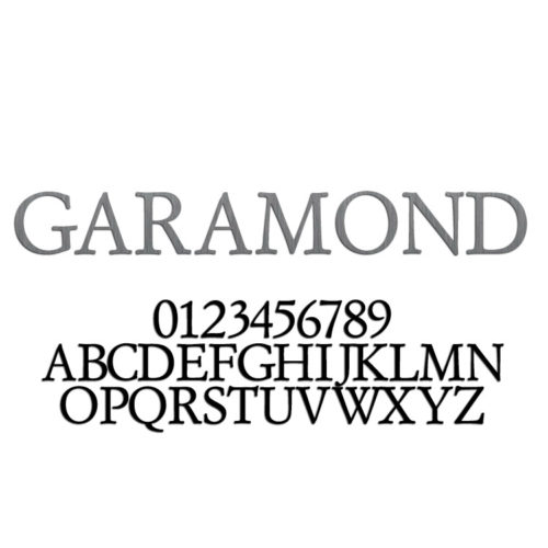 Garamond Font Metal Letters & Numbers
