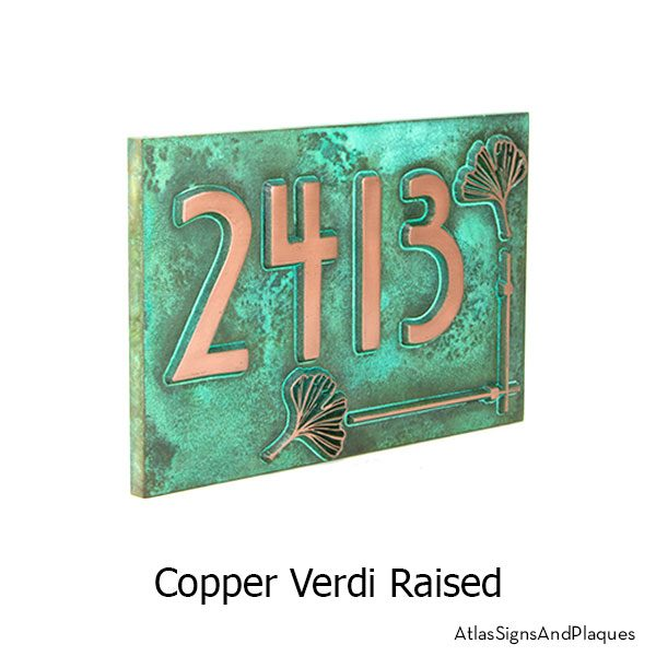 Ginko Leaf House Numbers Plaque shown in Copper Verdi