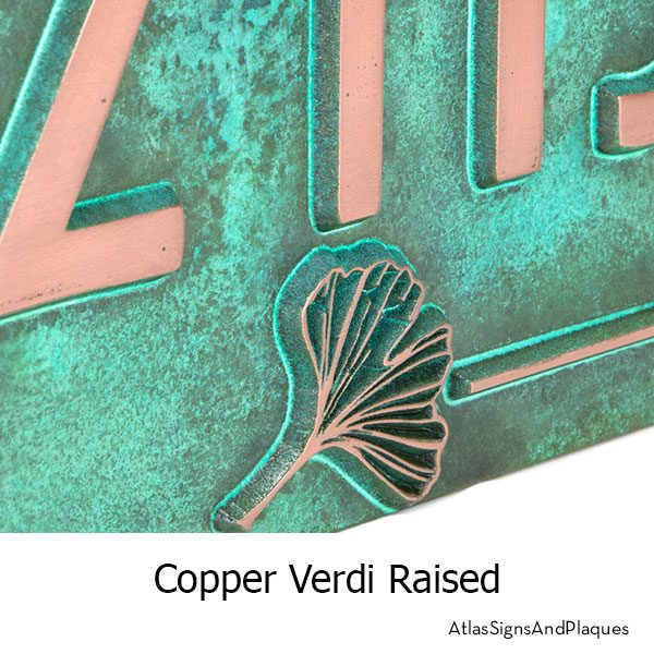 Raised, Copper Verdi Ginko Leaf House Numbers Plaque