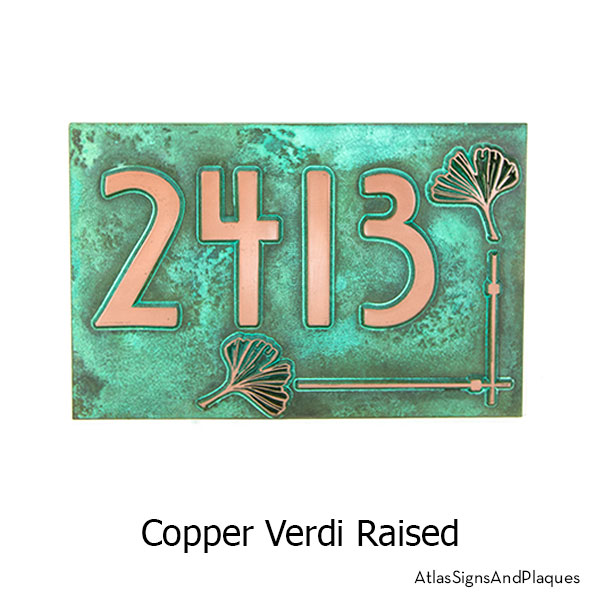 Copper Verdi finish on our Ginko Leaf House Numbers Plaque