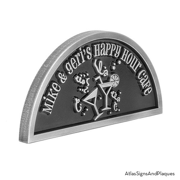 Happy Hour sign, raised, stainless steel