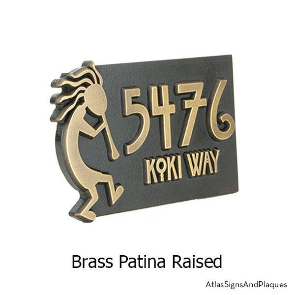 Raised, Brass finish on our Kokopelli Address Plaque
