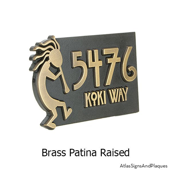 Raised, Brass finish on our Kokopelli Address Plaque